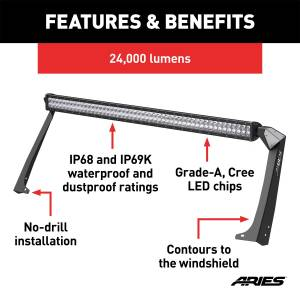 Lighting - Exterior - Light Bar - ARIES - ARIES Jeep Roof Light and Brackets 1501303