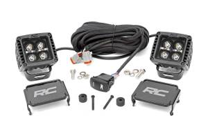 Lighting - Exterior - Auxiliary Light - Rough Country - Rough Country Jeep 2in LED Cube Blk Ser w/White DRL Easy-Mnt Kt (18-20 Wrnglr JL/20 Gladiator) 70061