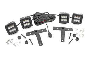 Lighting - Exterior - Auxiliary Light - Rough Country - Rough Country Jeep Quad LED Light Pod Kit - Black Series (18-20 JL / 2020 Gladiator) 70822